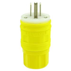 15 Amp; 125 Volt; NEMA 5-15P; 2P; 3W; Plug; Straight Blade; Industrial Grade; Grounding; Wetguard - YELLOW