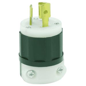 15 Amp; 125 Volt; NEMA L5-15P; 2P; 3W; Locking Plug; Industrial Grade; Grounding - Black-White