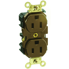 15 Amp; 125 Volt; NEMA 5-15R; 2P; 3W; Industrial Series Extra Heavy Duty Specification Grade; Duplex Receptacle; Straight Blade; Self Grounding; Back & Side 8 Hole Feed-Thru Wired; Brass Strap; - BROWN