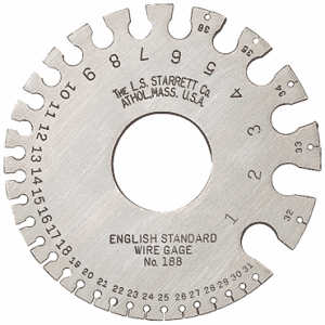 #188 - English Standard: 1 to 36 Gage - Wire Gage