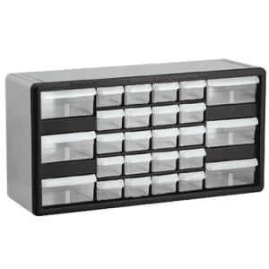 10-11/32 x 6-3/8 x 20'' (26 Compartments) - Plastic Modular Parts Cabinet