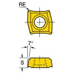 Sandvik Coromant 5962707 CoroDrill 881 Drilling Insert, ANSI Code: 881-02 02 04M-C-GM1 1144, Rectangle Shape, 020204 Insert, 881..C-GM1 Insert, 0.0937 in THK, 3/16 in Inscribed Circle, For Use On Heat Resistant Materials, Stainless Steel and Super Alloys