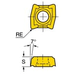 Sandvik Coromant 5962753 CoroDrill 881 Drilling Insert, ANSI Code: 881-03 03 08M-P-GM1 2044, Rectangle Shape, 030308 Insert, 881..P-GM1 Insert, 1/8 in THK, 7/32 in Inscribed Circle, For Use On Heat Resistant Materials, Stainless Steel and Super Alloys