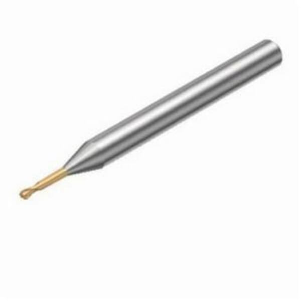 Sandvik Coromant 5963298 CoroMill Plura Ball Nose End Mill, 0.078 in Dia Cutter, 0.066 in Length of Cut, 2 Flutes, 0.236 in Dia Shank, 1.771 in OAL, PVD Coated