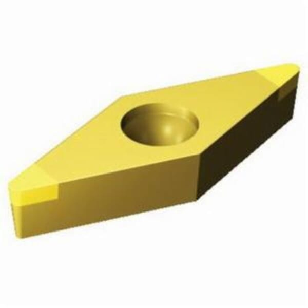 Sandvik Coromant 5965435 CoroTurn 107 1-Sided Turning Insert, ANSI Code: VBGW331T0320F 7525, VBGW Insert, Material Grade: H, K, 331 Insert, Rhombic Shape, 16 Seat, Positive Rake, Neutral Cutting, For Use On Cast Iron and Hardened Materials, Carbide